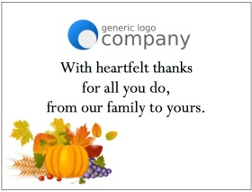 gThankYou! Thanksgiving Enclosure Card with Generic Company Logo