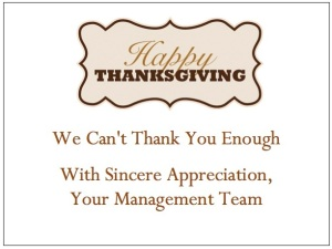 gThankYou! Happy Thanksgiving Enclosure Card